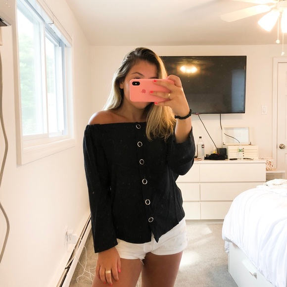 Nasty Gal Tops - Black Buttons Blouse
